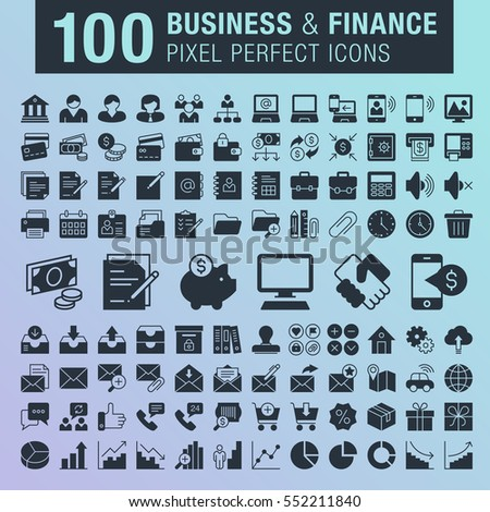 Set of 100 pixel perfect business and finance icons for mobile apps and web design.