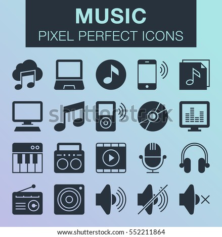 Set of pixel perfect music icons for mobile apps and web design.