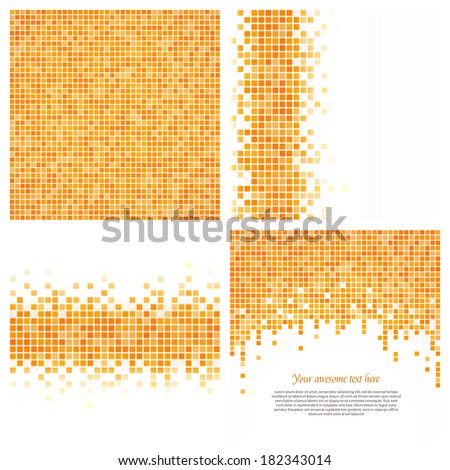 Set of 4 pixel templates for your design. - stock vector