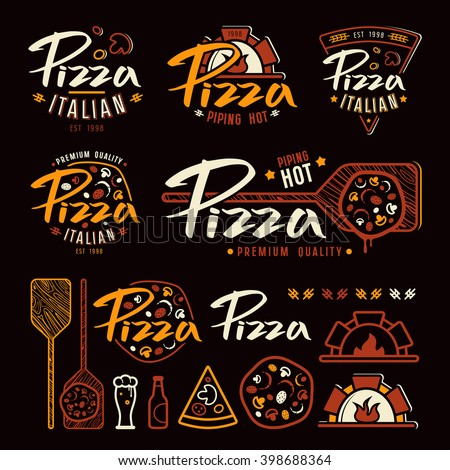 Set of pizzeria labels, badges, and design elements. Color print on black background  - stock vector