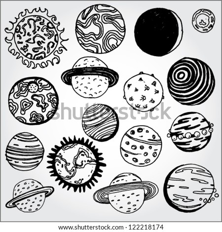 Set of Planets Hand Drawn - stock vector