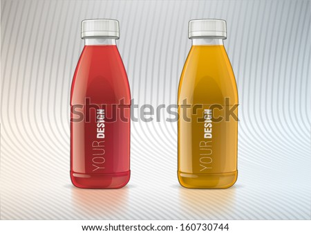 Set of plastic bottle for new design - stock vector