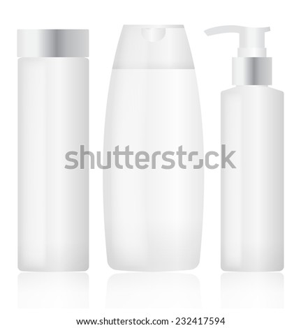 Set of plastic bottles. Cosmetic packaging - stock vector