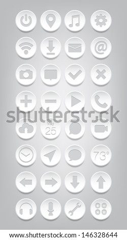 Set of plastic buttons / icons for websites (UI) or applications (app) for smartphones or tablets - stock vector