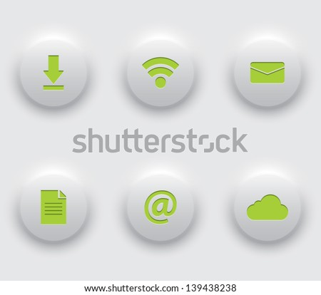 Set of plastic buttons / icons for websites (UI) or smartphones and tablets applications (app). Clean and modern style - stock vector
