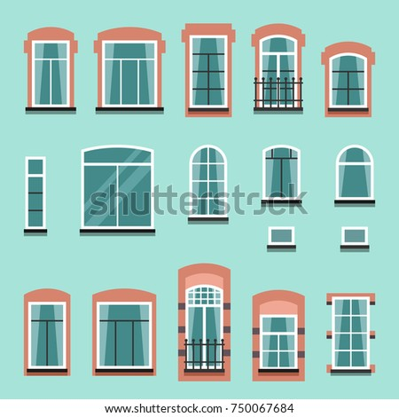 Set of plastic or wooden window frames with shutters, windowsills,  curtains, balconies without