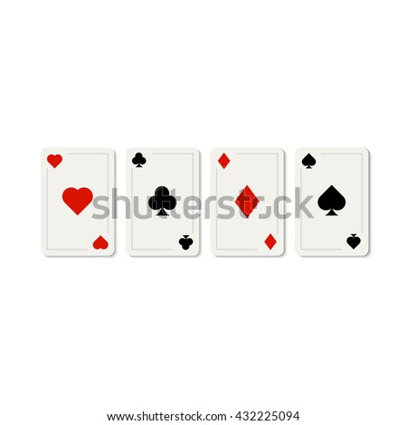 Set of play cards isolated on white. Poker gaming casino cards template.