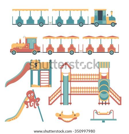 Set of play equipment for children: children's train, slide, swing, carousel. Children's playground.  - stock vector