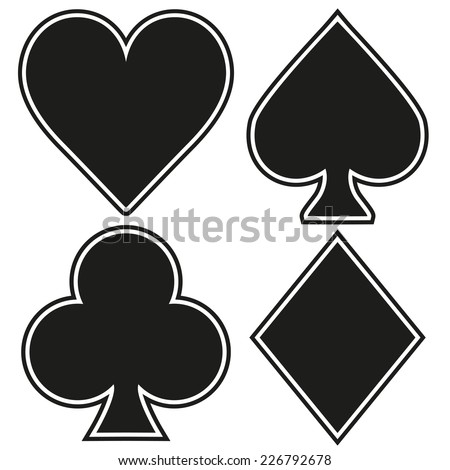 Set of playing card four symbols on white background. Vector Illustration. - stock vector