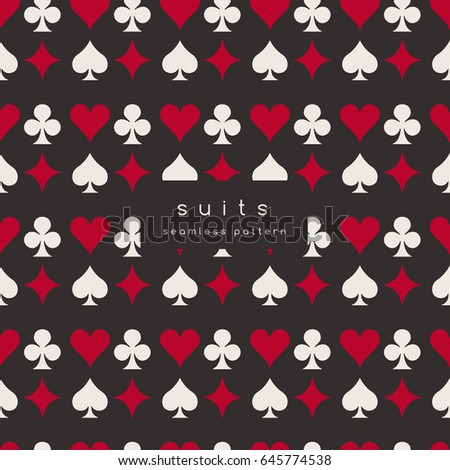 Set of playing card suits : Seamless Pattern : Vector Illustration