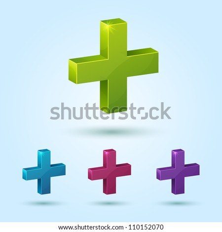 Set of plus symbol isolated on blue background. This vector icon is fully editable. - stock vector
