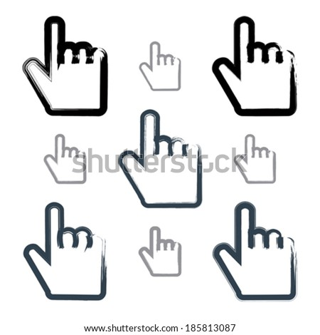 Set of point hand gestures created with real hand-drawn ink brush, scanned and vectorized. Collection of monochrome brush drawing touch screen simple vector icons, hand-painted user interface symbols.