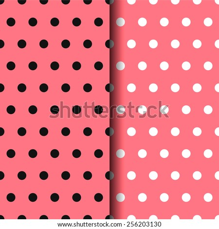 Set of 2 point of seamless patterns. white point. black dots. pink background - stock vector