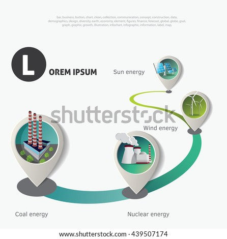 Set of pointers on time line. Green industry infographic timeline. - stock vector