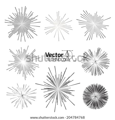 set of points of the star and explosion hazard - stock vector