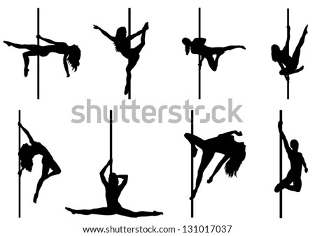 Set of Pole Dancer. Vector Silhouettes