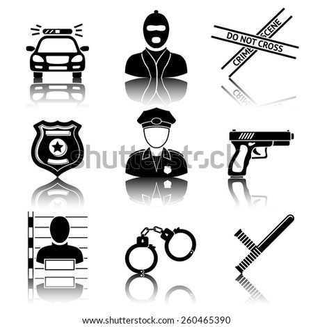 Set of police icons with reflections - gun, car, crime scene tape, badge, police men, thief, thief in jail, handcuffs, police club. Vector - stock vector