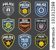 Set of police law enforcement badges and logo patches - stock vector