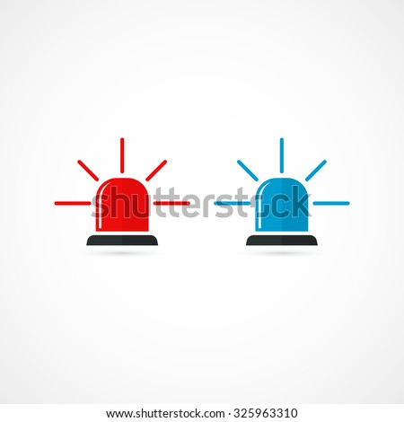 Set of police or ambulance red and blue flasher siren icon. Flat style with line scatter rays. Isolated on white background. Vector illustration - stock vector