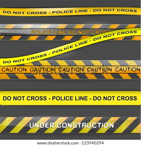 Set of police ribbon attention lines