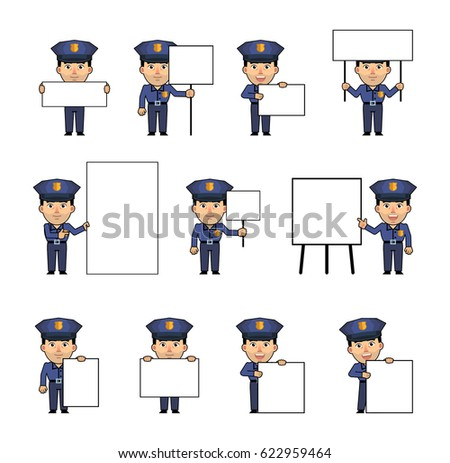 Set of policeman characters posing with various blank banners. Funny police officer holding paper, poster, placard, pointing to whiteboard. Teach, advertise. Simple vector illustration