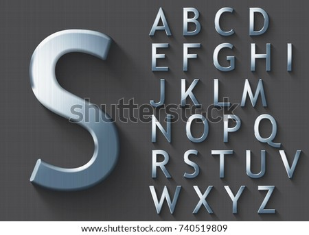 Set Of Polished Steel 3d Uppercase English Letters Steel Metallic Shiny Font On Gray Background