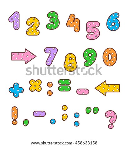 Set of polka-dot patterned and outlined bold numbers, math signs and marks of punctuation of various colors.