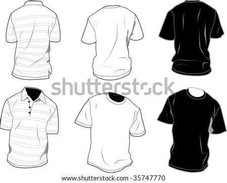 Set of polo and shirt, front and back, black and white. - stock vector