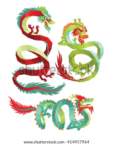 Set of Polygonal Chinese Dragons. Legendary Chinese Dragons on a White Background. Vector Chinese Dragons for Your Design. - stock vector
