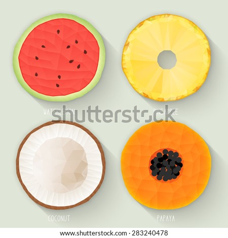 Set of polygonal fruit halves. Slices of watermelon, pineapple, coconut, papaya. Vecter