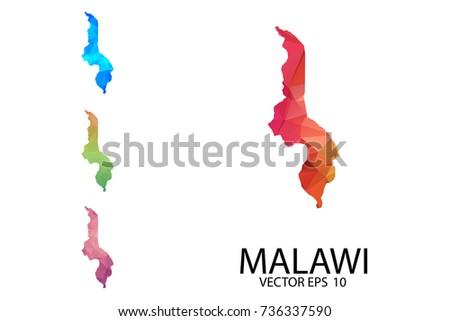 Set Polygonal Map Blank On White Stock Vector Shutterstock - Malawi blank map