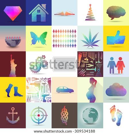 Set of polygonal objects, illustration - stock vector