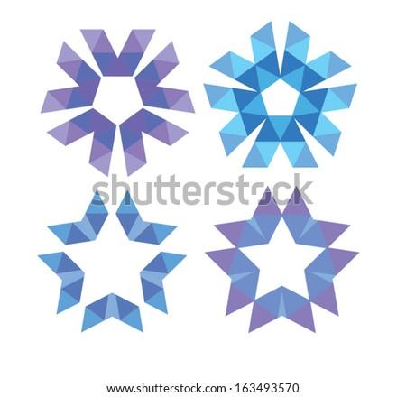Set of polygonal stars - stock vector