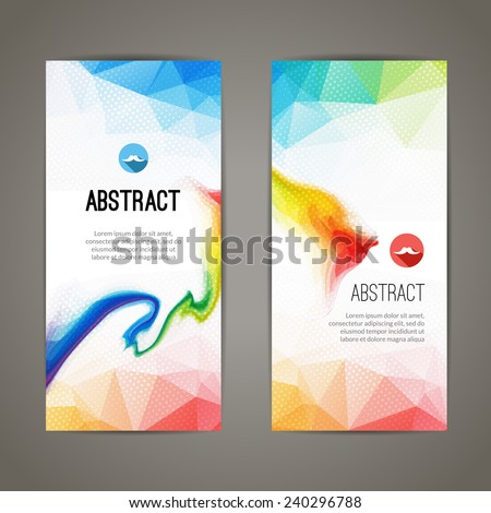 Set of polygonal triangular colorful background banners poster booklet with swirls for modern design, youth graphic concept - stock vector