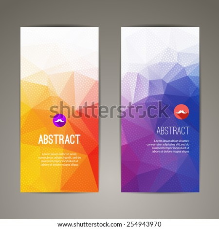 Set of polygonal triangular geometric banners for modern design - stock vector