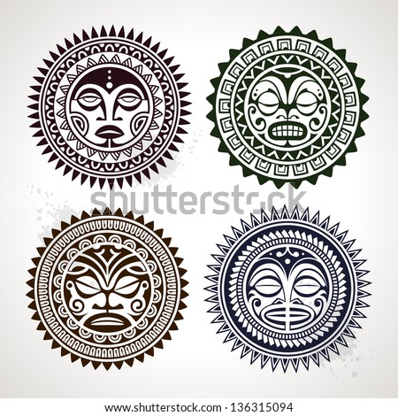 Set of polynesian tattoo styled masks. Vector illustration. - stock vector