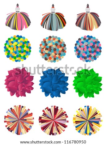 Set of pompons on a white background - stock vector