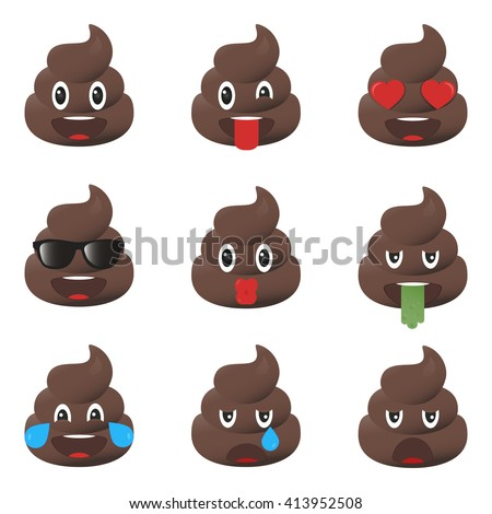 Set of poo icons. Shit emoticons. Poop emoji faces isolated.  - stock vector