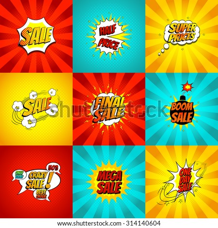 Set of pop art comic sale discount promotion vector illustration. Decorative set of color backgrounds with bomb explosive. - stock vector