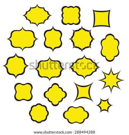 Set of Pop Art Frames isolated on white. 17 frames of different shapes, made in the same style. Speech bubbles. - stock vector