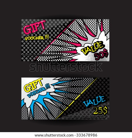 Set pop art gift cards coupon stock vector 333678986 shutterstock set of pop art gift cards coupon voucher certificate template with speech bubble and comic letters yadclub Image collections