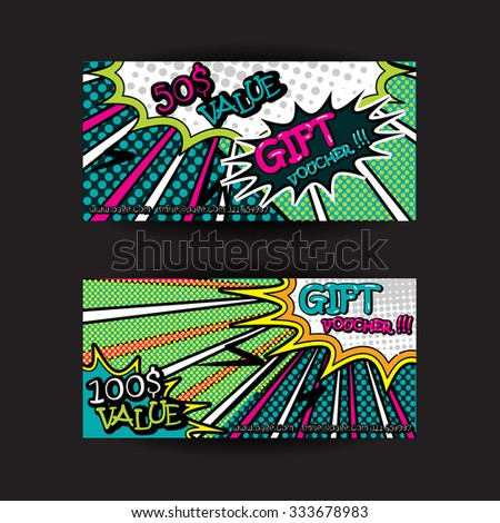 Set pop art gift cards pop stock vector 333678983 shutterstock set of pop art gift cards pop art gift voucher pop art gift certificate yadclub Image collections