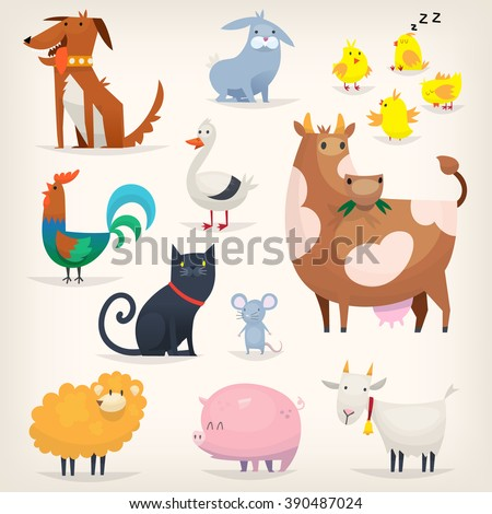 Set of popular colorful vector farm animals and birds - stock vector
