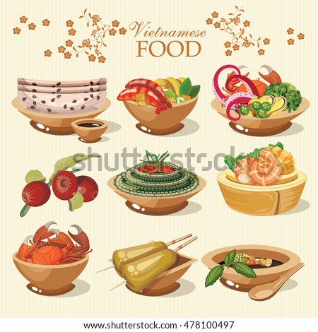Set of popular vietnamese food for restaurant menu