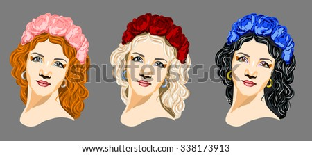 Set of portraits of girls in flower wreath
