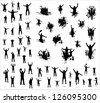 Set of poses from fans for sports championships and music concerts. Boys and girls - stock