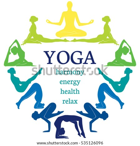 Set Of Poses Yoga With Women Creative Design Concept Poster For Studio