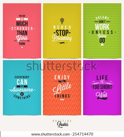 Set of Positive Quote Typographical Background - vector design - stock vector