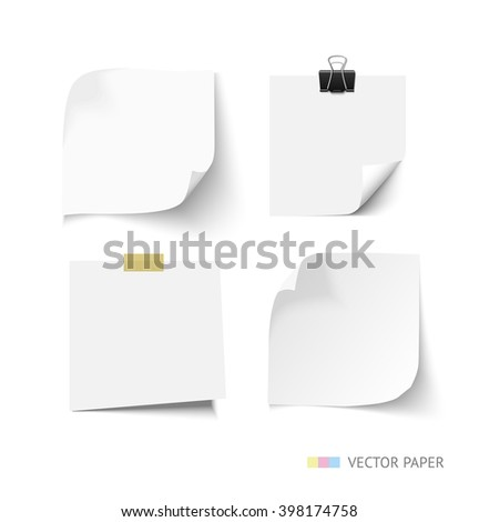 Set of post it paper sheets. Realistic vector notepaper with curl corners. Reminder with paper clip and sticky tape. Realistic vector note paper illustration. Paper sheets with curled corners - stock vector