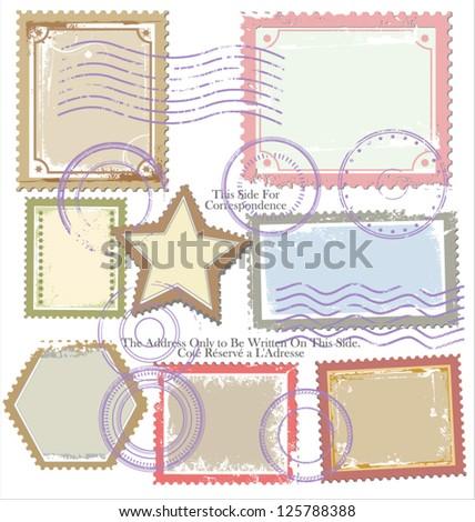 Set of post stamp symbols - stock vector